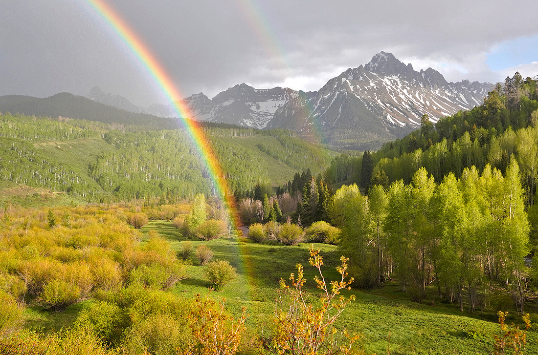 Mount Sneffels and rainbow in spring 1, CO